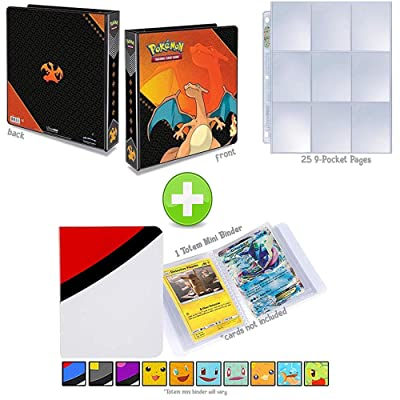 Assortmart Ultra Pro Pokemon 3-Ring Binder with Mini Binder Album Set of 4 Poke Ball Great Ball Ultra Ball and Master Ball + 25 9-Pocket Pages (Charizard): Toys & Games