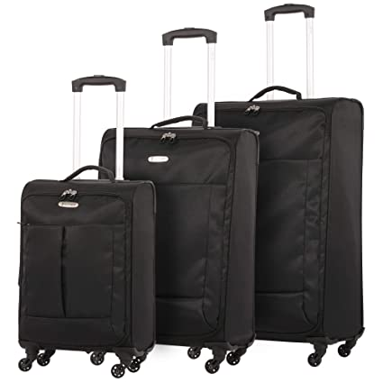 """f6854ed3b 5 Cities Ultra Lightweight 4 Wheel Spinner Travel Trolley 3 Piece Luggage  Suitcase Set, 21"""""""