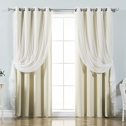 Best Home Fashion uMIXm Tulle Sheer Lace Blackout 4 Piece Curtain Set - the best window curtain panel for the money