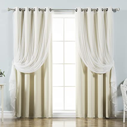Best Home Fashion Mix Match Tulle Sheer Lace Blackout Curtain Set