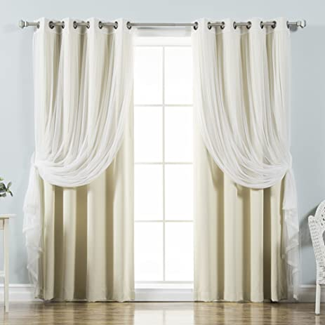 Best Home Fashion Mix U0026 Match Tulle Sheer Lace U0026 Blackout Curtain Set    Antique Bronze