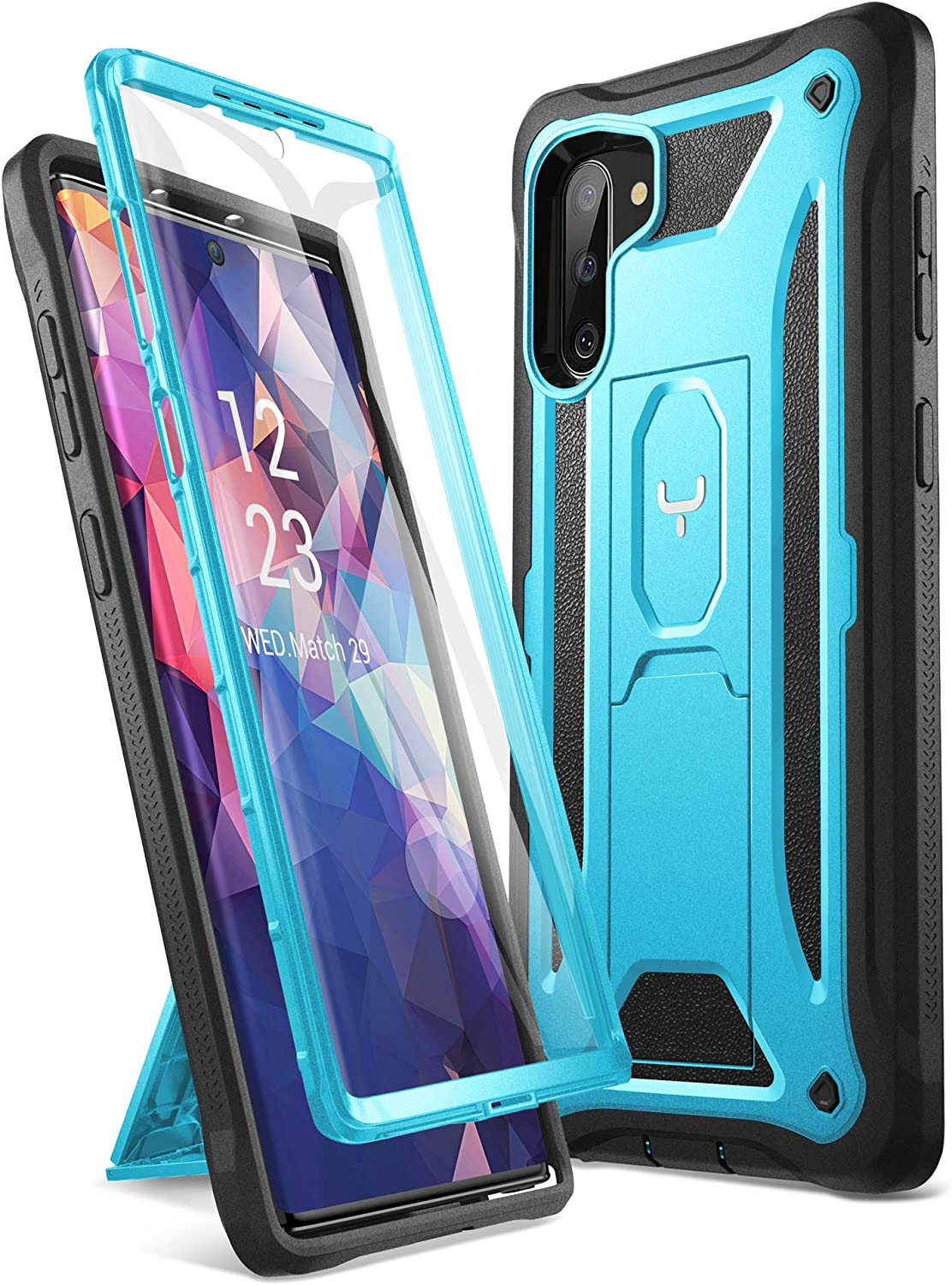 YOUMAKER Case for Galaxy Note 10, Built-in Screen Protector Work with Fingerprint ID Kickstand Full Body Heavy Duty Protection Shockproof Cover for Samsung Galaxy Note 10 6.3 Inch (2019) - Blue/Black