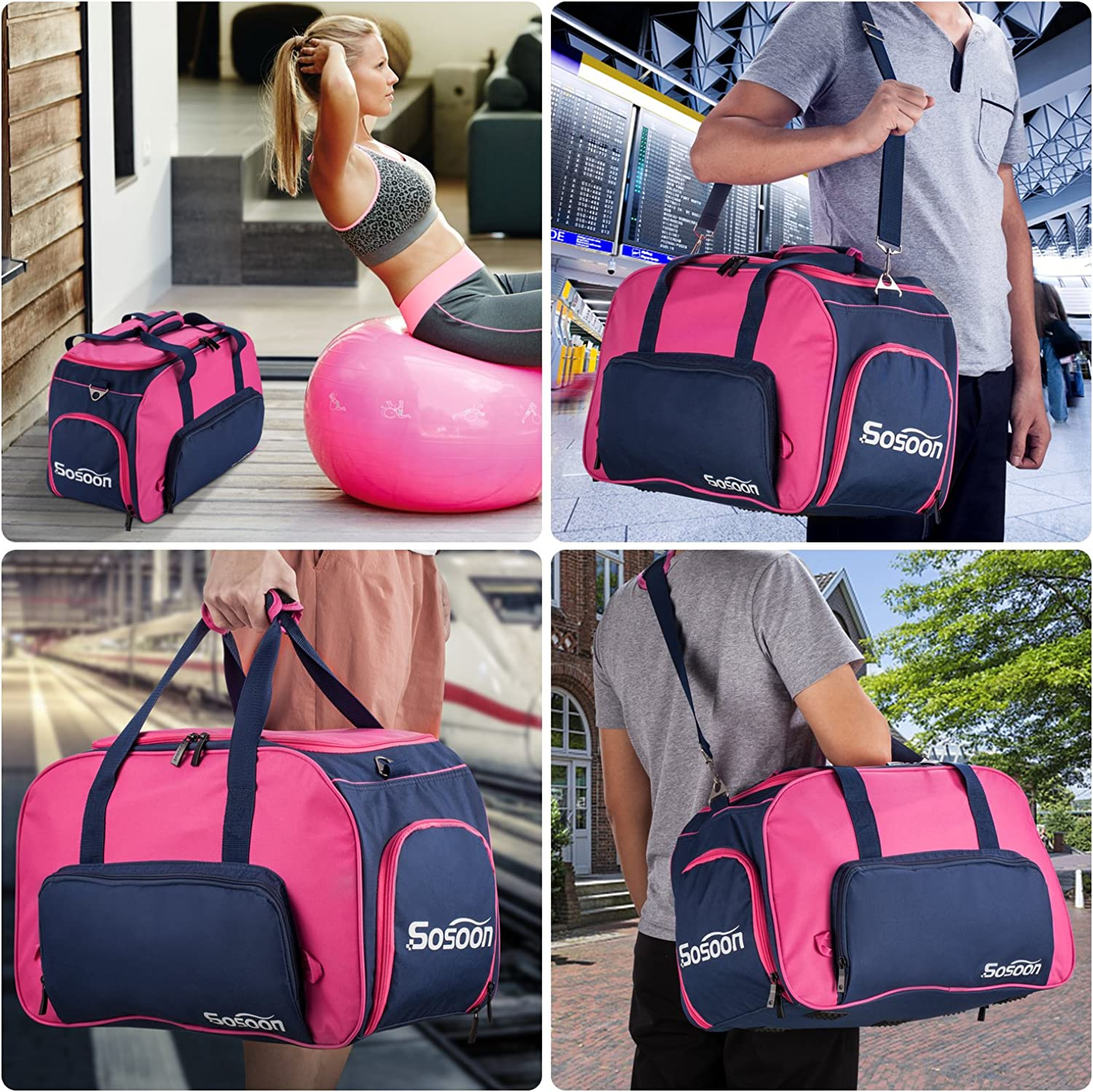 Duffel Bag Sosoon Folding Storage Bag for Traveling and Business Trip Sports Gym Bag