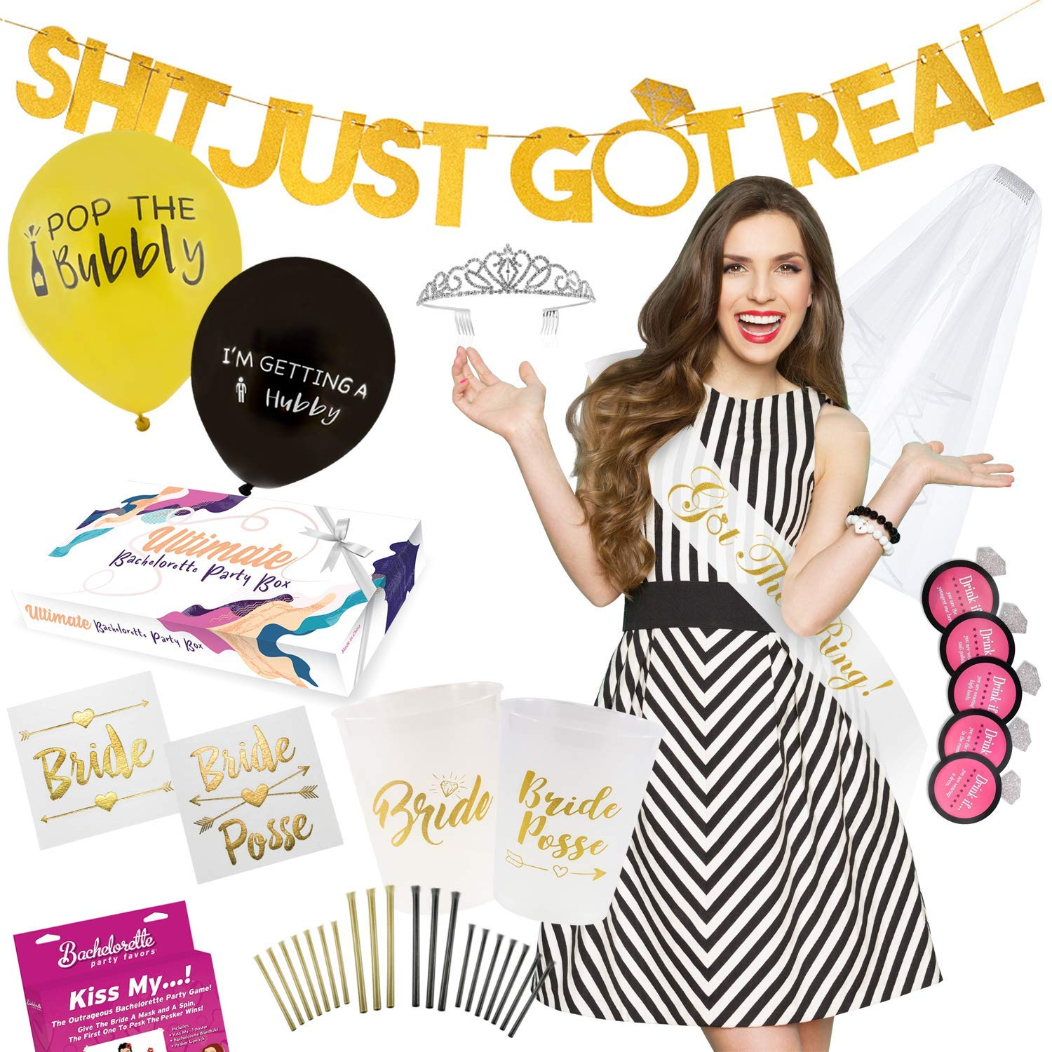Ultimate Bachelorette Party Decorations Mega Value Kit - Tiara, Sash, Veil/Comb, Banner, Tattoos, Cups, Straws, Balloons, Party Games, Drinking Game - Bride To Be Bridal Shower - Party Supplies