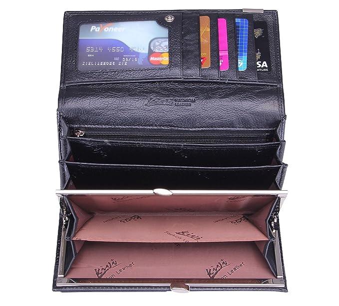 68068d502e69 Zando Women s Crocodile Vintage Multi Pockets Genuine Leather Long Bifold  Wallet Black at Amazon Women s Clothing store