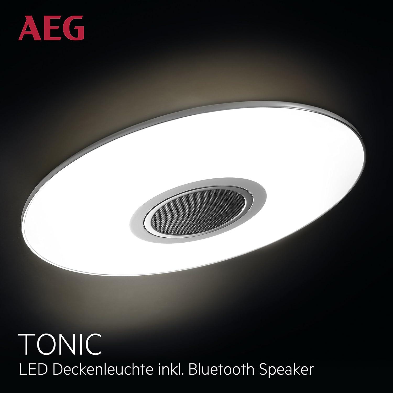 Lámpara de techo AEG LED Altavoz de música Bluetooth, 1 x 24W LED integrado (chip SMD), 1 x 1700 Lumen, 2800-4500K, plástico / aluminio, blanco / cromo