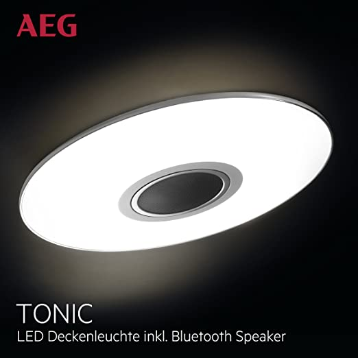 Lámpara de techo AEG LED Altavoz de música Bluetooth, 1 x 24W LED integrado (chip SMD), 1 x 1700 Lumen, 2800-4500K, plástico / aluminio, blanco / ...