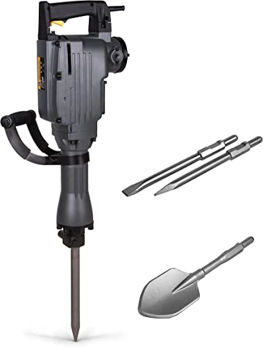 TR Industrial TR89100 Electric Demolition Jackhammer with Point, Flat and Spade Scoop Shovel Chisels Bits, 4-Piece Set