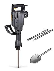 TR Industrial-Grade 4-Piece Electric Demolition Jack Hammer, with 3 Bits - Point, Flat, Scoop Shovel Spade Bit
