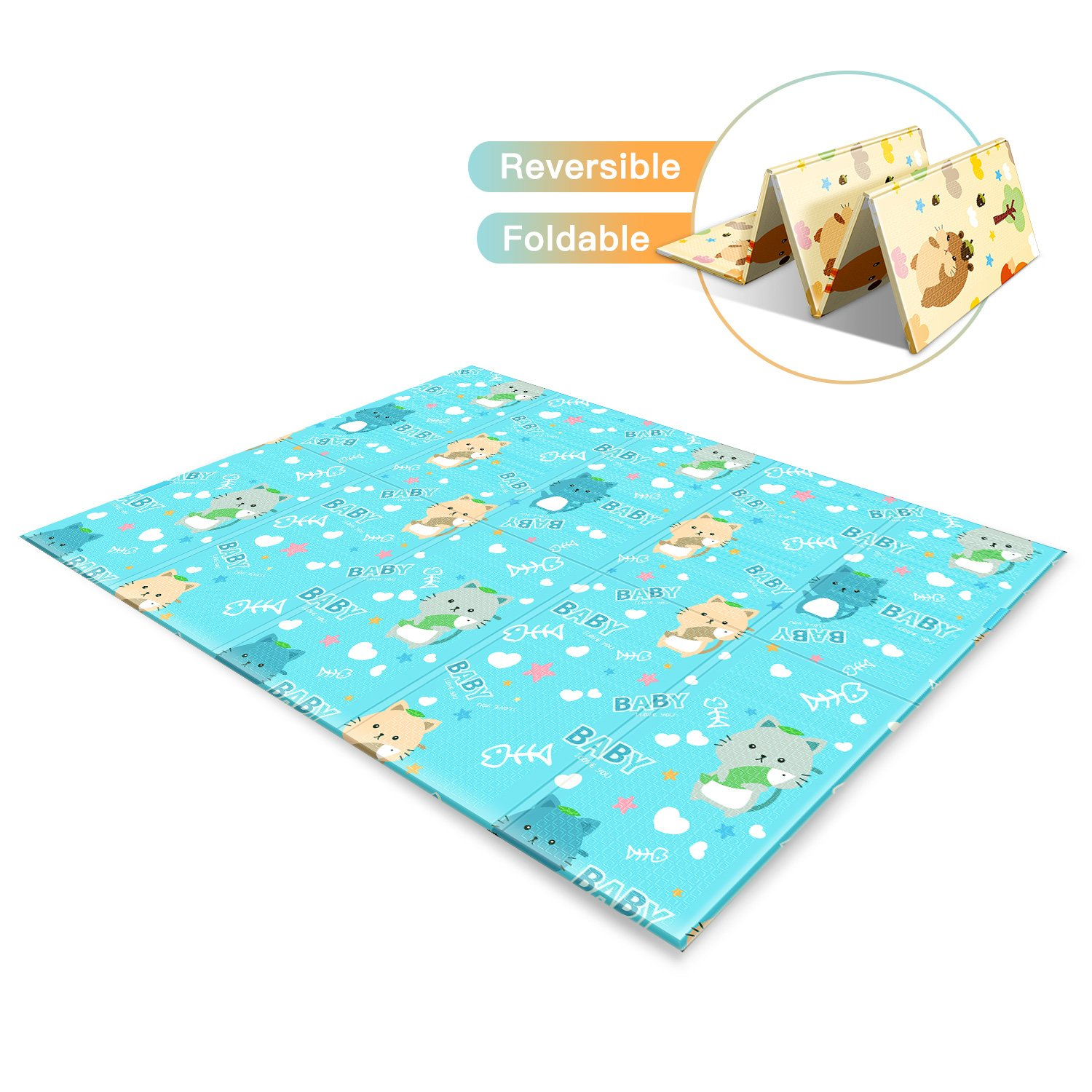 Baby Play Mat, Reversible Waterproof XPE Foam Playmat, Large/Extra Soft, 78''x59''