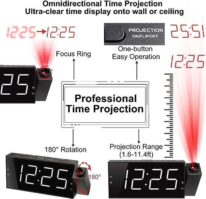 Amazon.com: Mesqool Reloj de techo con proyector de 180 ...