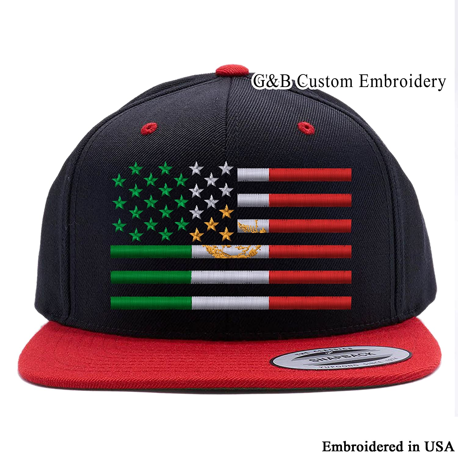 42fa19db47f30e Amazon.com: G&B Custom Embroidery USA Mexico Flag Combination Snapback Cap  Hat Embroidered (Black): Clothing