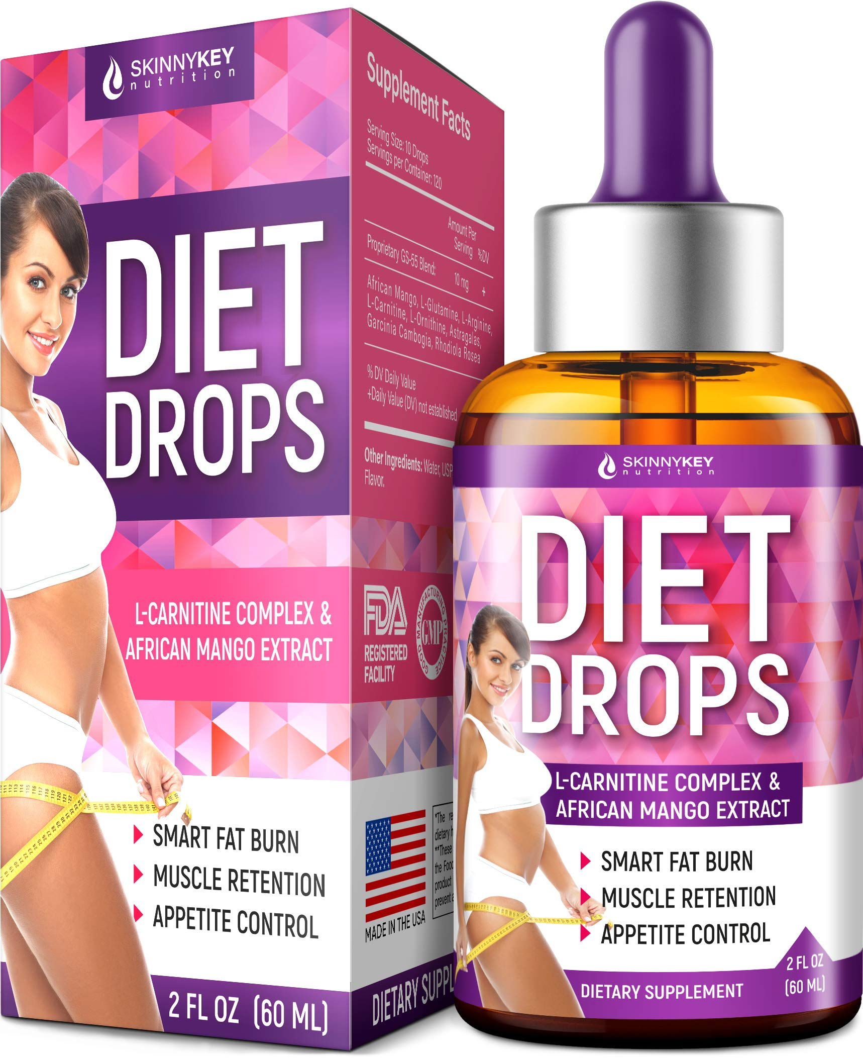 Diet Drops with L-Carnitine - Most Effective Fat Burner - Natural Appetite Suppressant & Metabolism Booster - Made in USA - Weight Loss Drops with L-Arginine, L-Glutamine & Garcinia Cambogia by SkinnyKey Nutrition