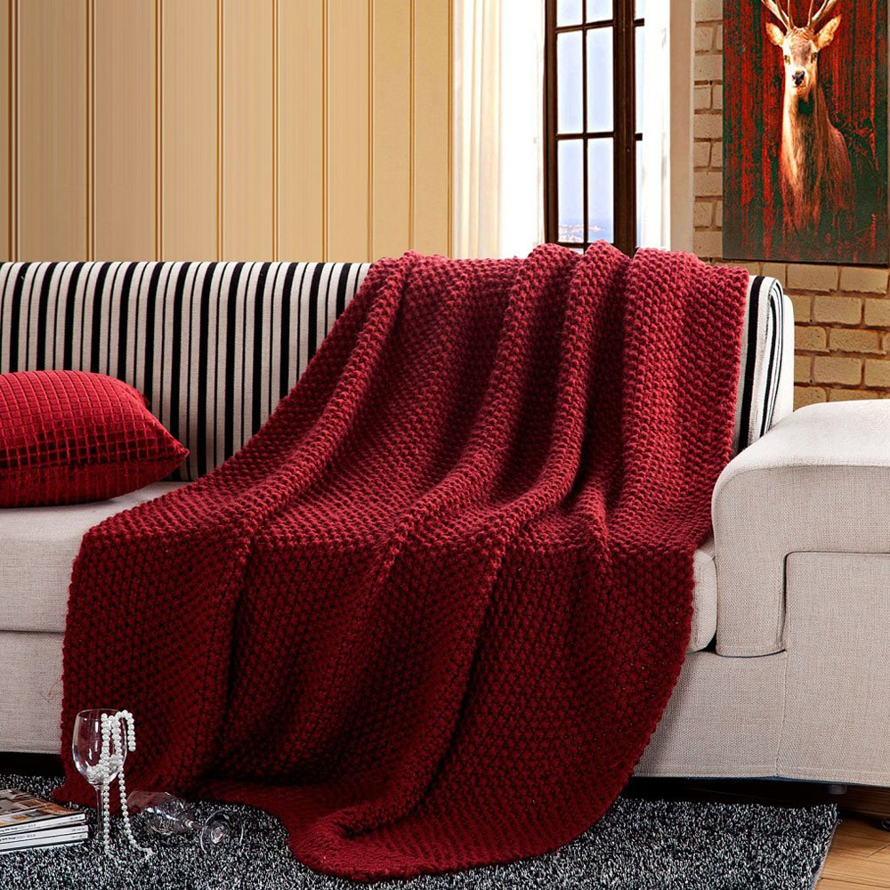 Handmade Series 100% Acrylic Knitted Throw Blanket Chunky Decorative Blanket for Kids and Adults All Season Blanket for Bed or Couch Gift Idea 50''x60''