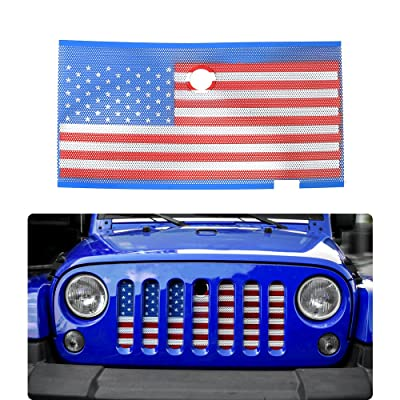 JeCar Front Grille Mesh Grill Inserts Net with Key Hood Lock for 2007 -2017 Jeep Wrangler JK JKU Accessories(USA Flag)