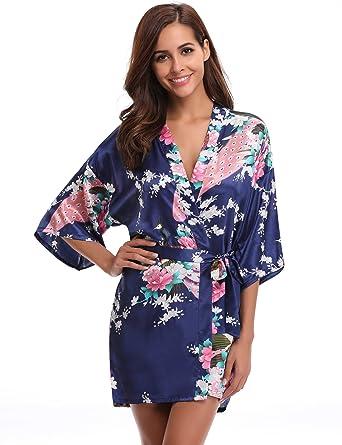 7091829c875ba0 Aibrou Damen Morgenmantel Kimono Robe Bademantel Schlafanzug Nachtwäsche  Kurz aus Satin mit Peacock und Blüten Blau