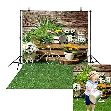 Amazon Com Allenjoy 5x7 Vinyl Garden Theme Spring Wood Green Grass