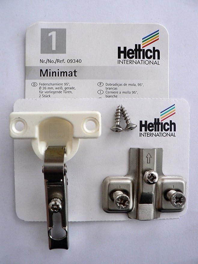 4 Stück Hettich Minimat 1, Federscharniere , 95°, vernickelt/weiß, D: 26 mm, Kröpfung: 0 mm, für aufliegende Türen, 4 Stück,