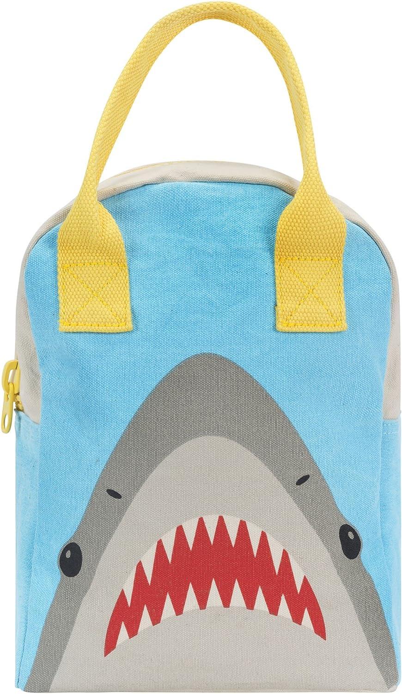 Fluf Zipper Lunch Bag | Reusable Canvas Lunch Box for Women, Men, Kids | Organic Cotton Meal Tote | (Shark)