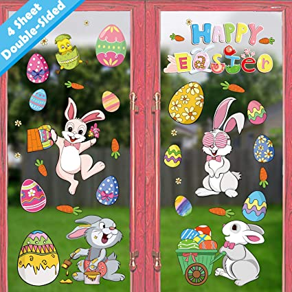 Ivenf Easter Decorations Window Clings Decals Decor, Kids School Home  Office Extra Large Easter Eggs