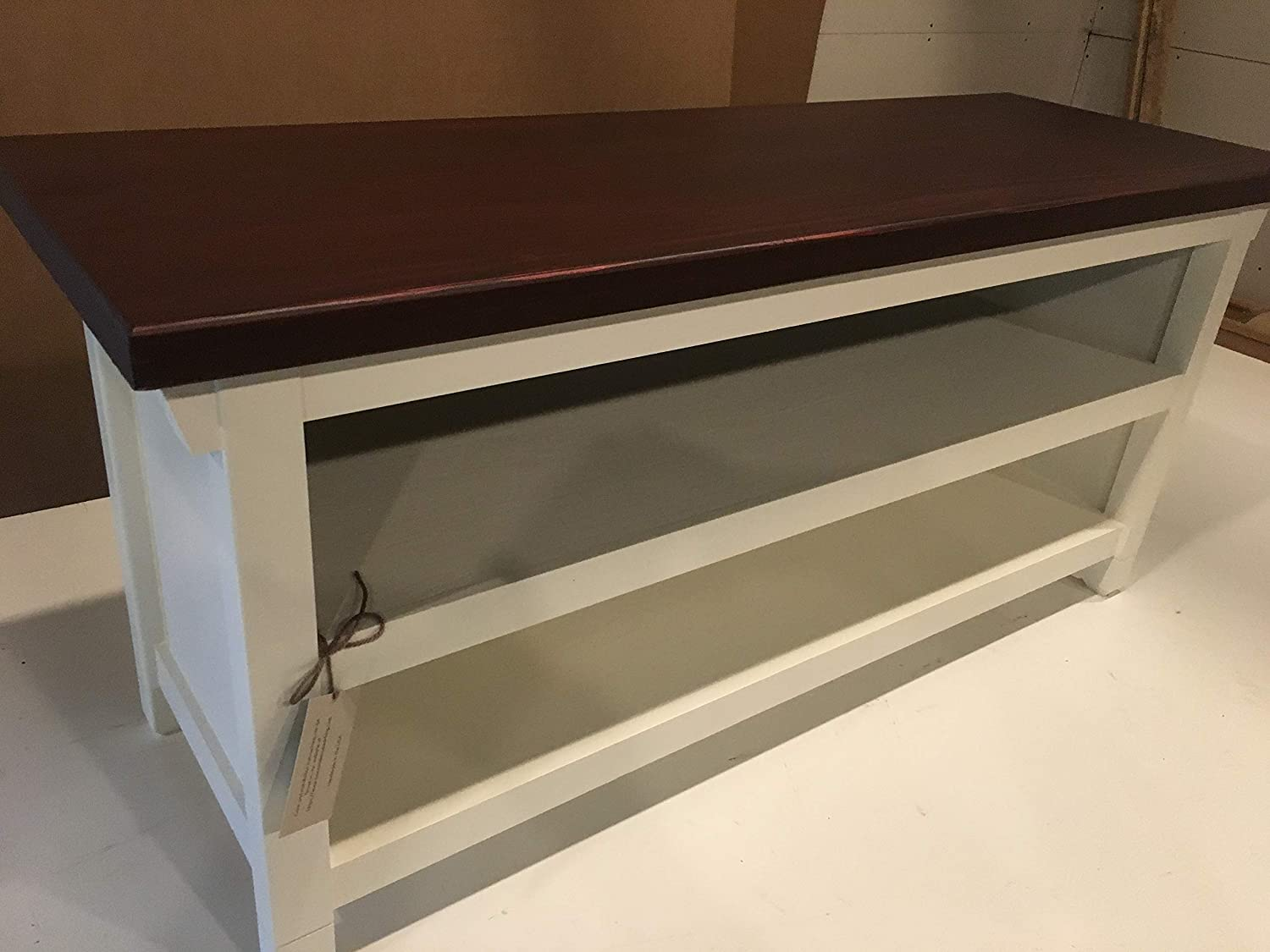 TV Stand//Bench With Closed Sides and Two Shelves In Your Choice Of Color And Size 24 To 46