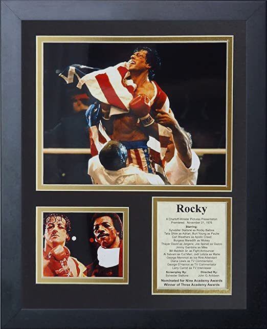 Framed 18x22 Double Matted Photos Legends Never Die Rocky Balboa Franchise Mosaic Inc.
