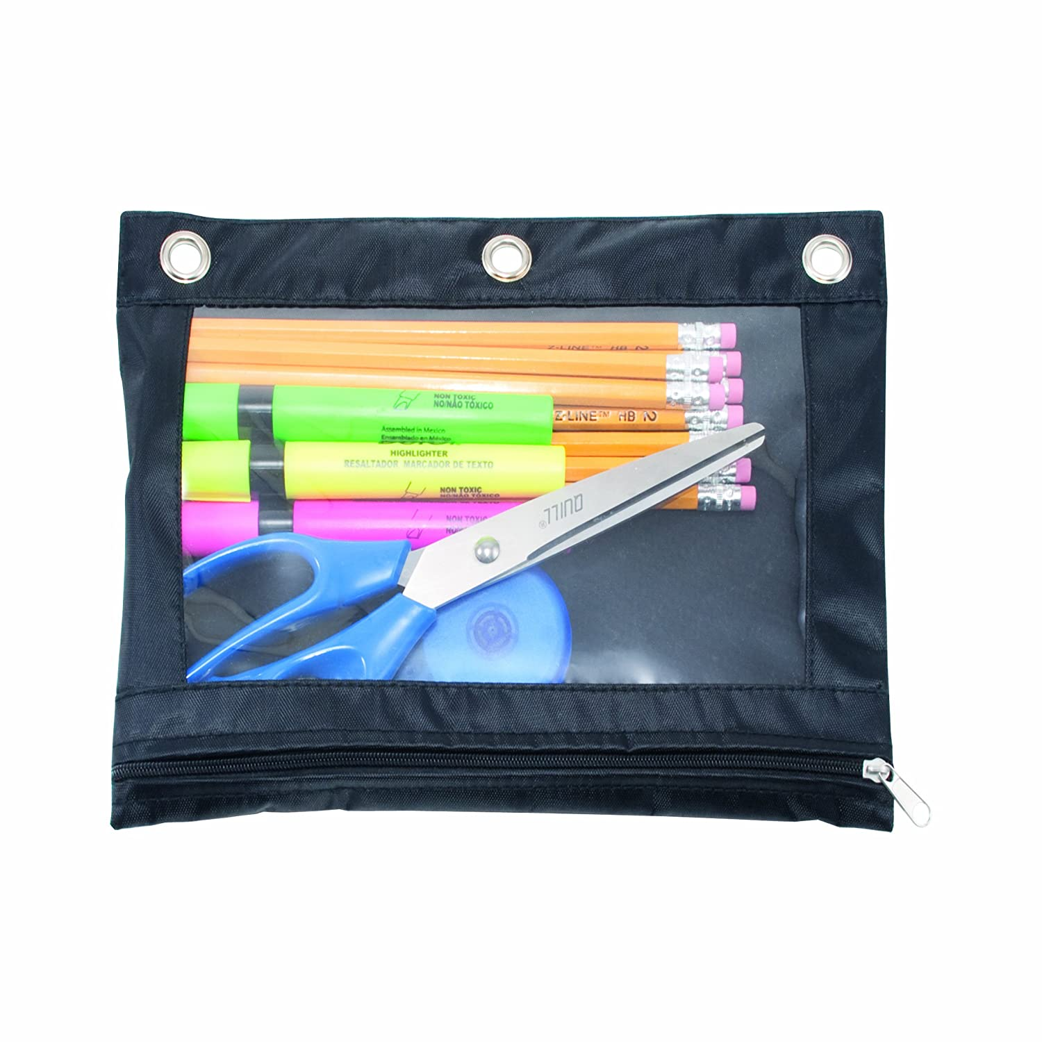 Pencil Bags with Zipper Pencil Pouch for 3 Ring Binder 4 Color Sooez Binder Pouch,Pencil Pouch 3 Ring Fabric Pencil Pouches with 2 Zipper 3 Hole Pencil Case Pencil Bags 3 Ring