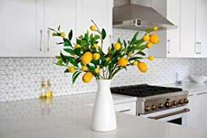 DomainScape 5 Pack Lemon Branch Decor - Artificial Lemon Branch Decoration - Full Unique Display - Large & Small Lemons with Green Leaves. Great for Kitchen, Home, Garden-Farmhouse Style