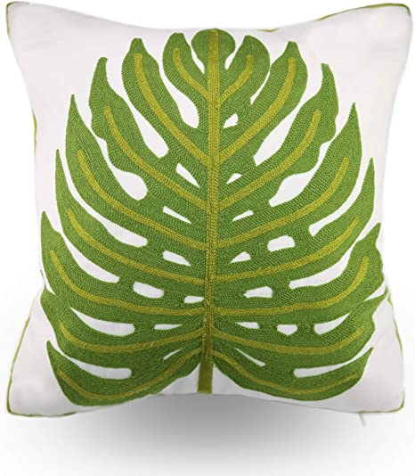 Amazon Com Hodeco Green Leaf Embroidery Throw Pillow Covers 18x18 Inches Decorative Floor Pillow Cover For Couch 100 Cotton Cushion Cover Pillowcase Tropical Green Monstera Leaves Embroidered 45x45cm 1 Piece Home Kitchen