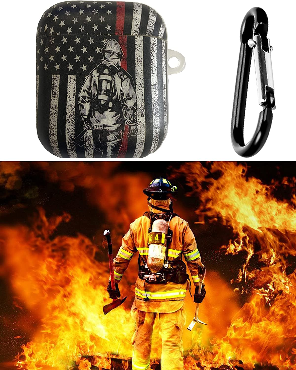 Thin RED Line American Flag AirPods 1&2 Case with Keychain Salutes to The fire Man Designed Compatible with Apple AirPods 1&2 Silicone Skins - Protects- Shock-Absorbing Protective Case