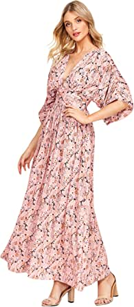 Milumia Women's Floral Kimono Sleeve High Waist Waistband Backless Pleated Kimono Maxi Dress Z-Multicolor-5 S