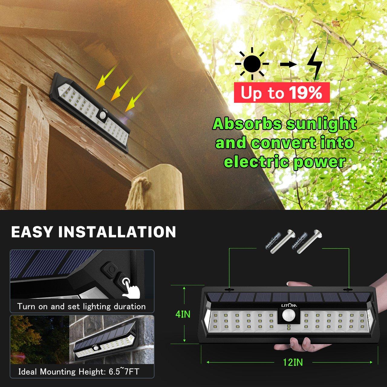 LITOM Solar Lights Outdoor 42 LED, Adjustable Lighting Time Solar Motion Sensor Light with 270° Wide Angle and Waterproof Design, Wireless Solar Lighting for Front Door, Yard, Garage, Deck (2 Pack) by Litom (Image #5)