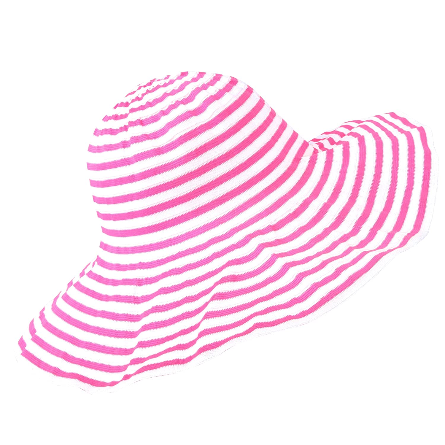 WITHMOONS Women Foldable Light Swirl Striped Floppy Hat Beach Cap NC9718