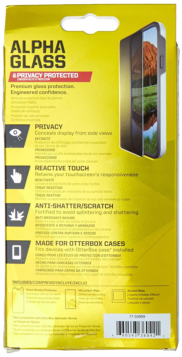 Amazon.com: OtterBox ALPHA GLASS SERIES Screen Protector for iPhone 6 Plus/6s Plus - Retail Packaging - PRIVACY: Cell Phones & Accessories