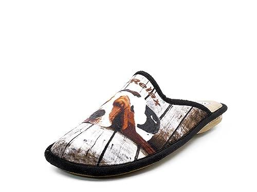 Biorelax Zapatilla hombre de andar por casa marca, grenoble color marrón, bordado perro -