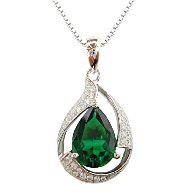 Navachi 925 Sterling Silver 18k White Gold Plated 10.5ct Pear Emerald Or Ruby Np9639p Necklace Pendant 16 fFQUwvZfag