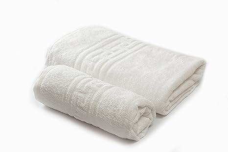 Towel Home - Juego 2 Toallas 100x150cm Greca Blancas muy Resistentes 540grm2