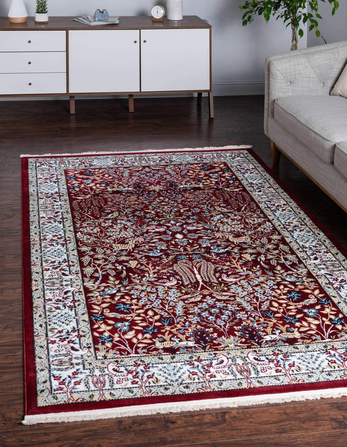 Unique Loom Narenj Collection Classic Traditional Hunting Scene Textured Burgundy Area Rug 8 0 x 10 0