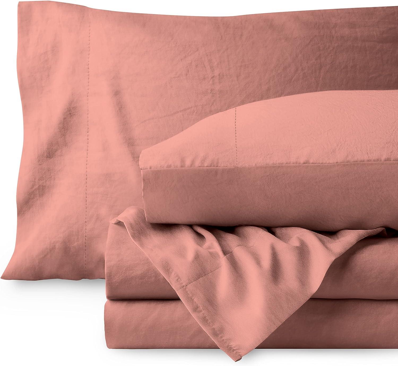 Bare Home Sandwashed King Sheet Set - Premium 1800 Ultra-Soft Microfiber Bed Sheets (King, Sandwashed Dusty Rose)