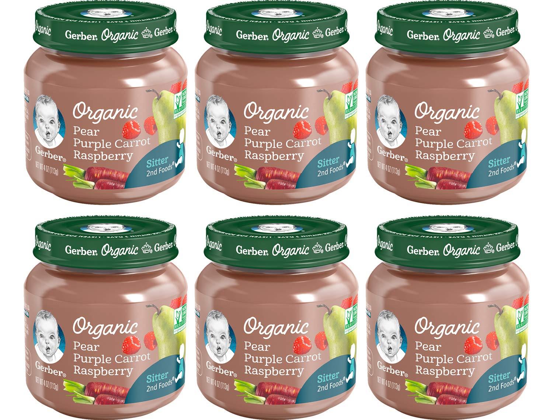 Gerber 2nd Foods Baby Food Jars,Organic Pear Purple Carrot Raspberry, 4 Ounce, (Pack - 6)