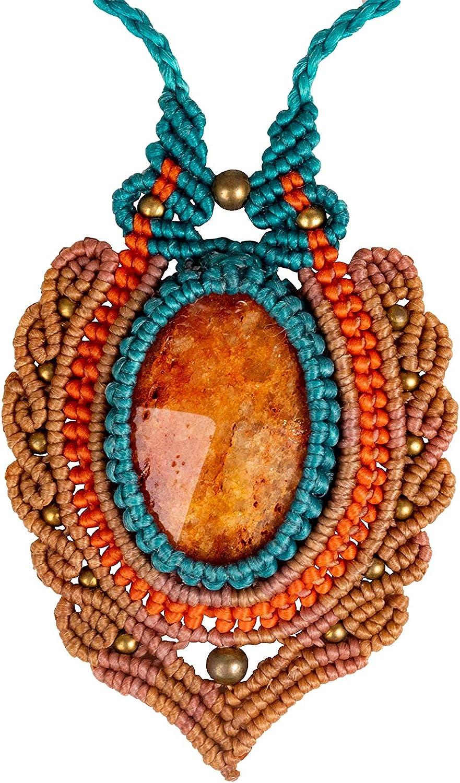 CCcollections Collar de Macramé Hecho a Mano Cordón de Cera con deCuentas Latón y Piedra