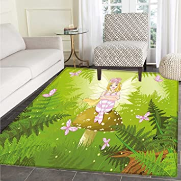 Amazon Com Nursery Rugs For Bedroom Magic Fairy Girl With Floral
