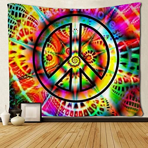 SARA NELL Wall Hanging Tapestry Tige Dye Peace Sign Tapestries Wall Tapestry Home Decorations for Living Room Bedroom Dorm Decor in 60×90 Inches