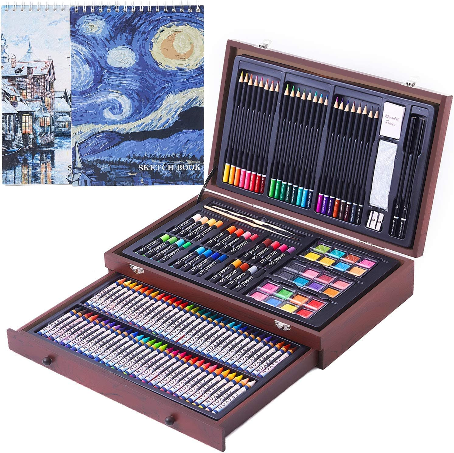 Amazon Com 145 Piece Deluxe Art Set With 2 X 50 Page Drawing Pad Art Supplies In Portable Wooden Case Crayons Oil Pastels Colored Pencils Watercolor Cakes Sharpener Sandpaper Deluxe Art Set Arts
