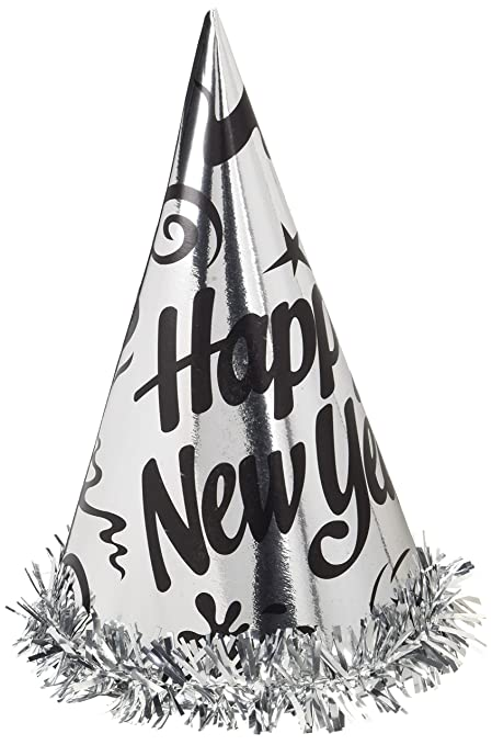 496196325b2e9 Creative Converting 12 Count Happy New Year Foil Hats with Fringe, Silver
