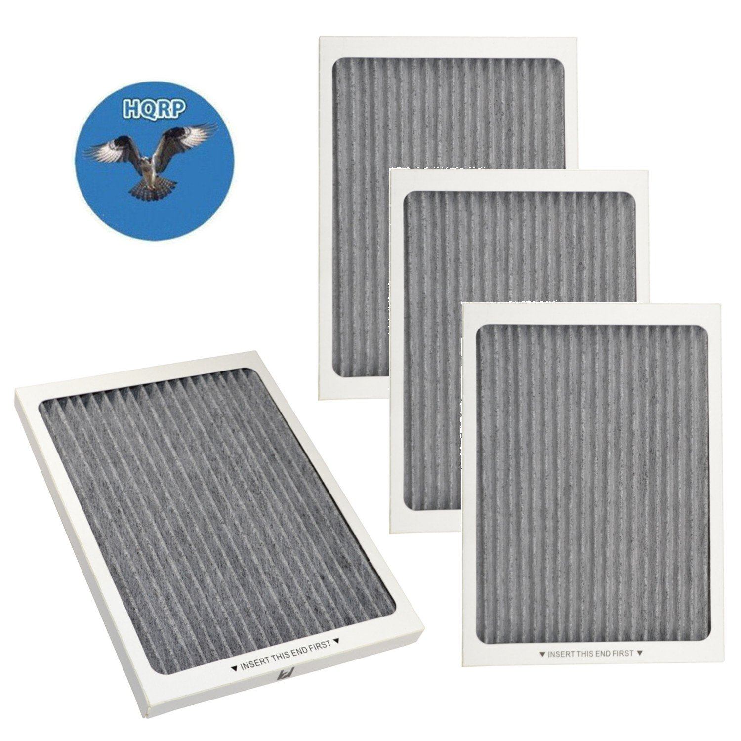 HQRP 4-pack Carbon Air Filter for Frigidaire Gallery & Professional series Side-by-Side / French door Refrigerators, EAFCBF PAULTRA Replacement + HQRP Coaster