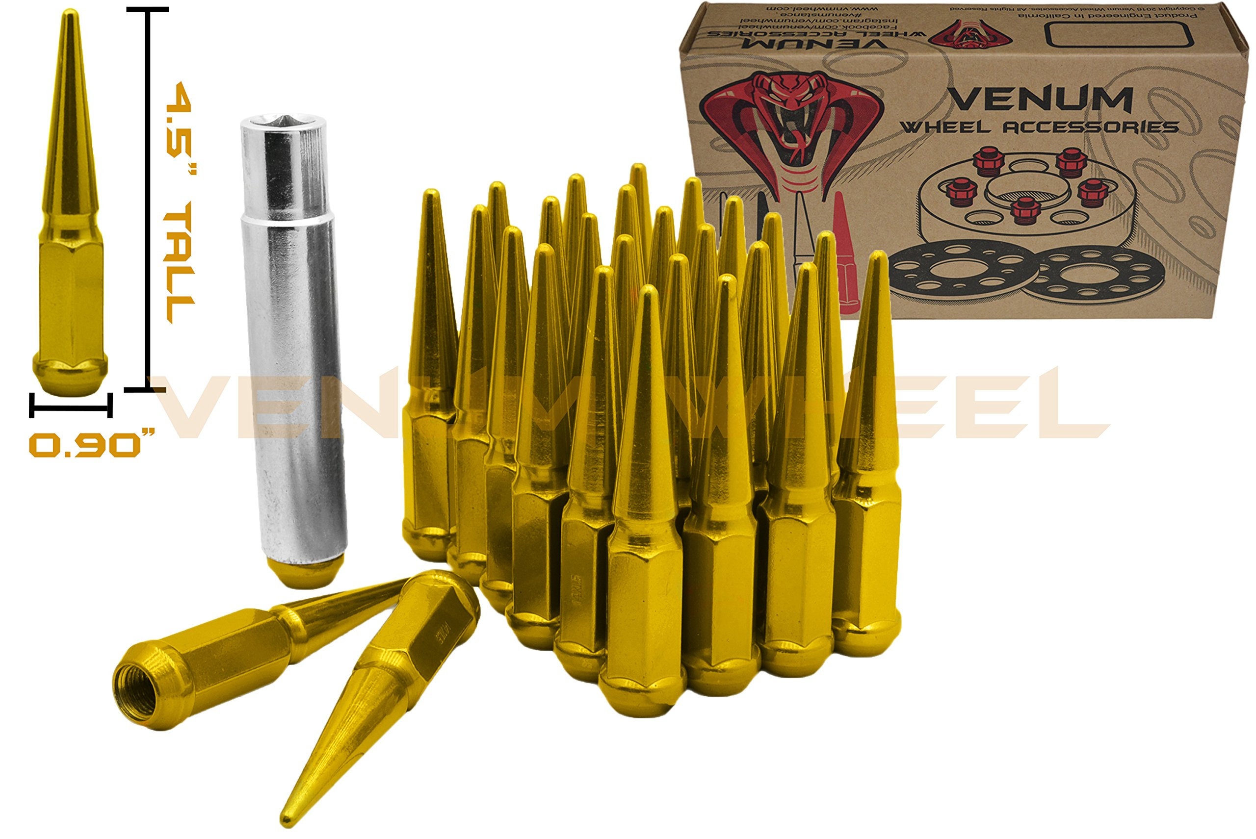 (32) Gold 14x1.5 Spike Security Lug Nuts 4.5'' Tall Socket Key Included | 2003-2018 Ford F250 F350 Heavy Duty Made in USA for Aftermarket Wheels by Venum wheel accessories