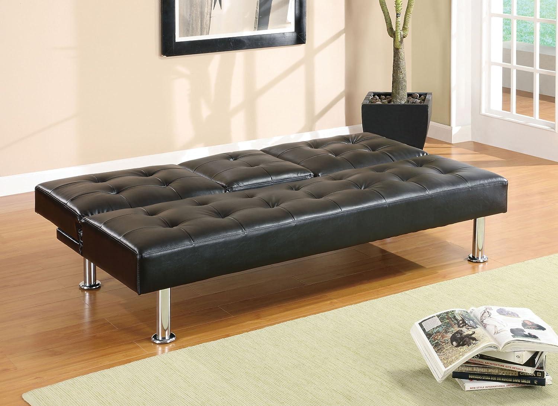 amazoncom furniture of america farrah modern leatherette futon sofa black finish kitchen u0026 dining
