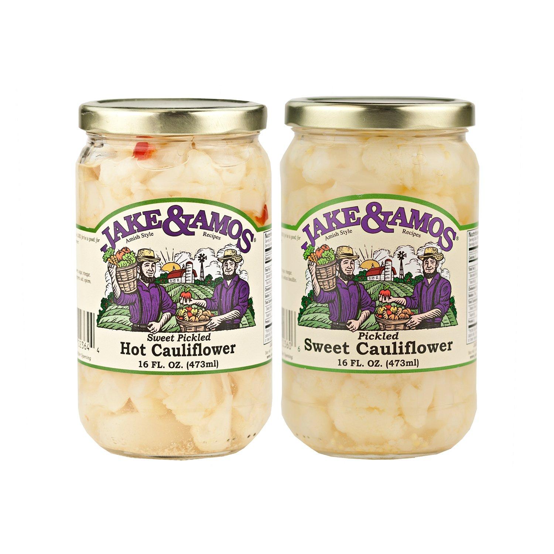 Jake & Amos Cauliflower Variety Pack 16 oz. Pickled Sweet, Pickled Hot & Sweet (1 Jar of Each) by Jake & Amos®