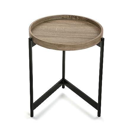 Versa 20360092 Mesa madera y metal Hennan, 45x10,5x52,5cm,Auxiliar ...